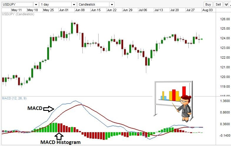 MACD Histogram on a Forex chart.