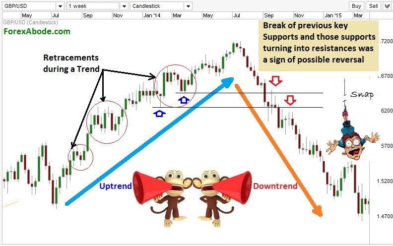 Difference in retracements and trend reversals.