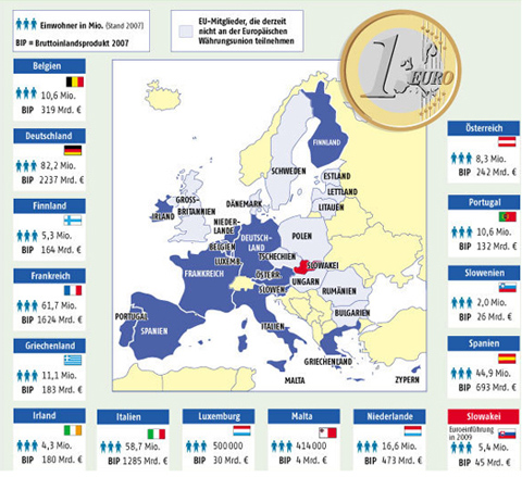 The Map Of Euro Zone Countries